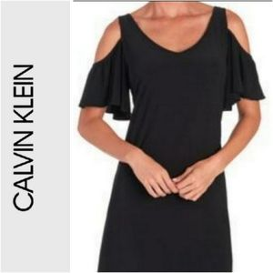 Calvin Klein black cold shoulder midi dress size 6